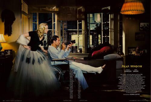 vanity fair hitchcock Javier Bardem Scarlett Johansson en la ventana indiscreta